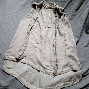 Free People   Front Tie Tank Blouse Olive Gray S